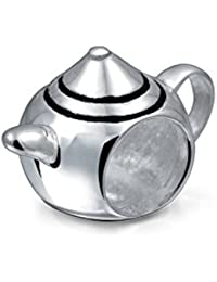 Teapot Charm 925 Sterling Silver Food Bead for Bracelets
