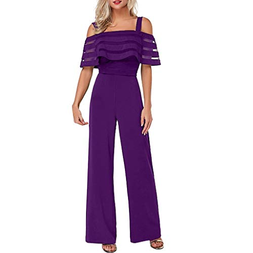 Women Cold Shoulder Jumpsuits, Mesh Panel Ruffled Overlay Playsuits Stappy Wide Leg Long Pants Rompers (Small, Purple)