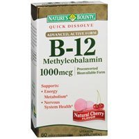 Natures Vitamin B-12 Quick Disslove Microlozenges Natural Cherry Flavor - 60 Tablets (Pack of 4) by Nature's Bounty