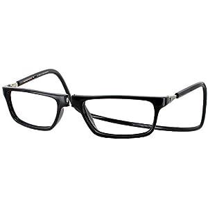 Clic Executive Single Vision Full Frame Designer Reading Glasses, Black, +2.00