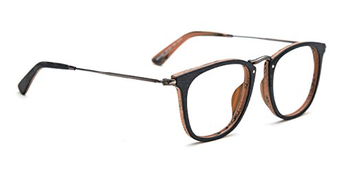 TIJN Retro Wood Wayfarer Eyeglasses Frame Faux Wooden - Eyeglasses Frames Wood