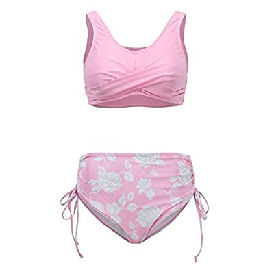 Cenglings Bathing Suit,Women Two Piece Floral Print Patchwork Bathing Suit Ruched Crop Tops High Waisted Tie Side Swimsuits: Clothing