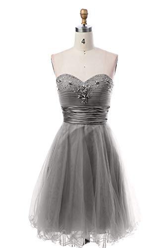 Linie A Cocktailkleider Partykleider Mini Abendkleider mit Damen Grau Suessig Rock Promkleider Kurzes Charmant Steine wAzqx