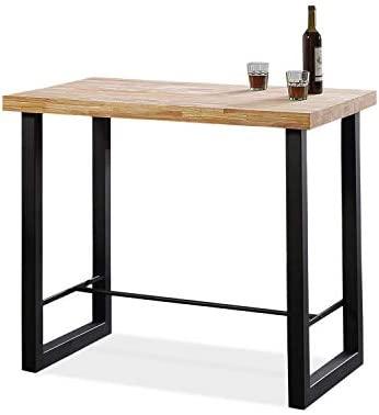 Adec - Loft, Mesa Alta de Cocina, Mesa de Bar, Barra acabada en Color Roble  Salvaje y Negro Medidas: 120 cm (Ancho) x 70 cm (Fondo) x 100 cm (Alto)