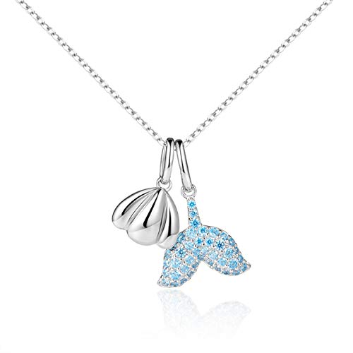 VANA JEWELRY Silver Shell Necklace Beach Mermaid Pendant Blue Diamond Necklaces for Women Sterling Silver Fish Tale Teen Girls Fashion Jewelry Crystal CZ Stone Anniversary Friendship Gifts for Her