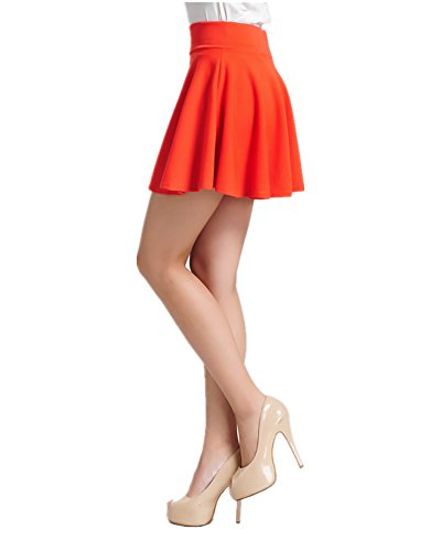 ViviClo Women's High Waist Solid Versatile Stretchy Pleated Flared Skater Skirt with Safety Shorts (Control Pleated Skirt)