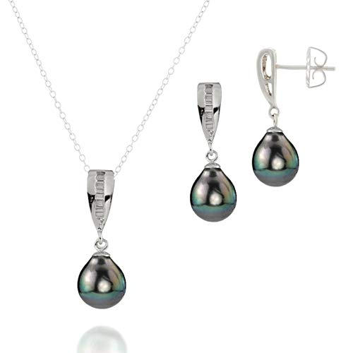 "Sterling Silver Necklace Pendant Dangle Earrings Set Quality AA 9-10mm Black Tahitian Cultured Pearls 17"" Chain"