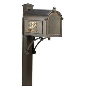Whitehall Premium Mailbox Package (Whitehall Products 16308 Superior Mailbox Package, Black)