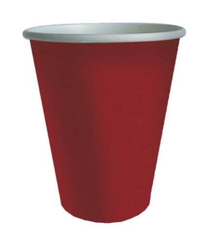Entertaining with Caspari Grosgrain 9-Ounce Paper Cup, Red, Set of 8