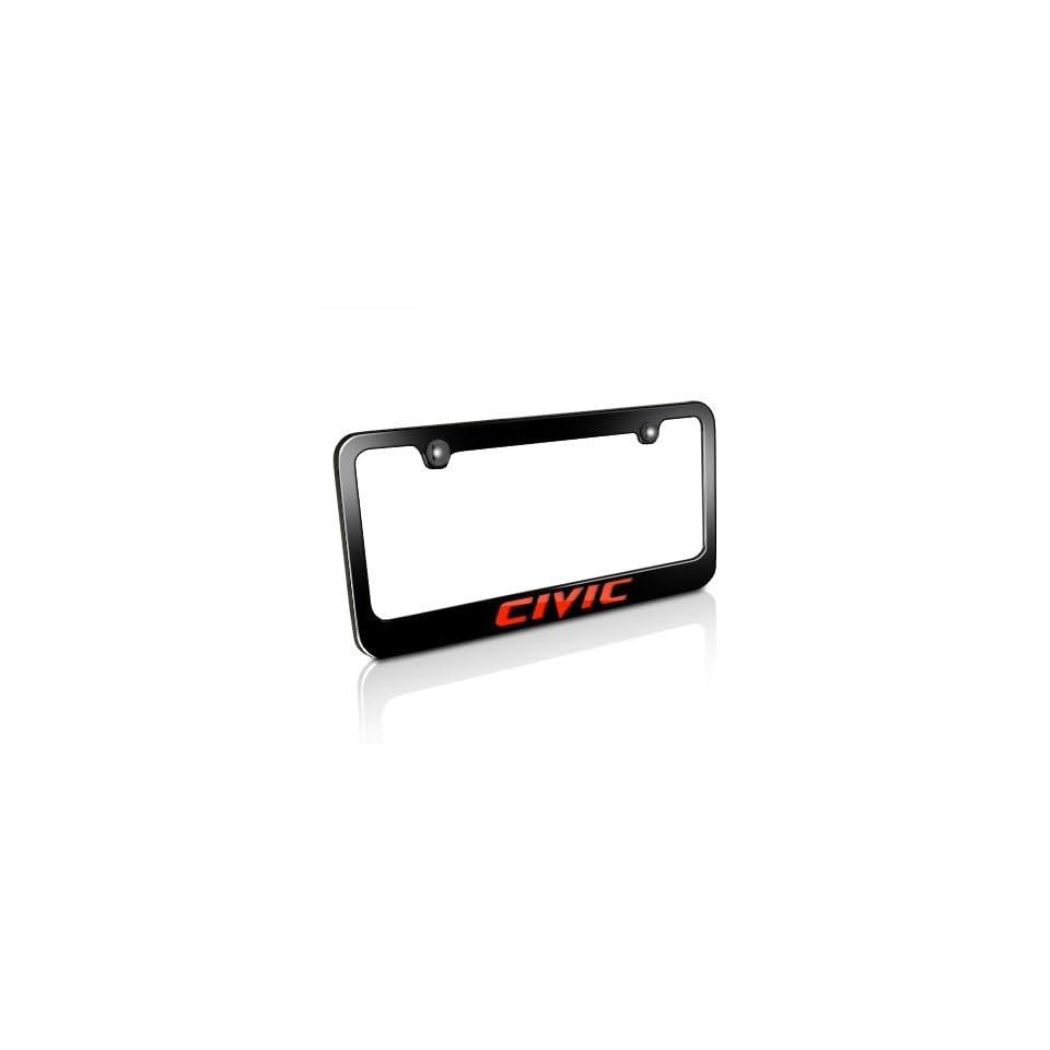 Honda Red Civic Black Metal Auto License Plate Frame