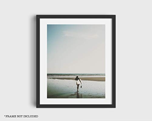 Girl Surfer on The Beach Poster Print 11x14 Inches Home Decor Wall Art (Unframed) (Girl Surfer Poster)