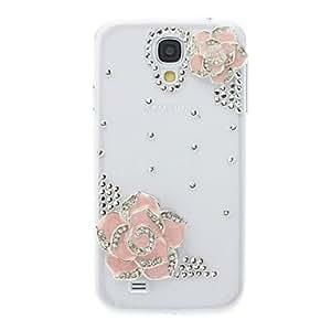 Fashion Rhinestones 3D Pink Hawthorn Flower Design Clear Plastic Hard Case for Samsung Galaxy S4 I9500