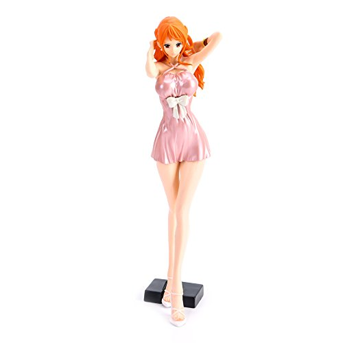 (Bowinr One Piece Portrait of Pirates: Nami PVC Figure (Dress Version), Premium Collectible Anime Girls Action Figure( Pink))
