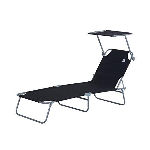 🥇 Outsunny Tumbona Hamaca Plegable con Parasol Inclinable Playa Piscina 187x58x27 cm Acero Negro
