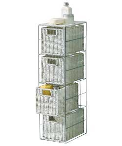 Fantastic Looking Stylish Slimline 4 Drawer Storage Tower Metal Frame Wicker Baskets