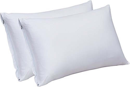 Zippered Bamboo Pillow Cases - Pack of 2 - (Queen, White) - 300 Thread Count Pillow Cover - 100% Natural Pillow Protector - (20 by 30 inches) - Bamboo Sateen Pillow Encasement by Utopia Bedding