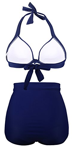 Angerella Haute Maillots Nu De Bikini Polka Dos Dot Retro Bain Navy Taille 1rx1g