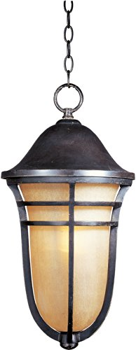 Maxim 40107MCAT Westport VX 1-Light Outdoor Hanging Lantern, Artesian Bronze Finish, Mocha Cloud Glass, MB Incandescent Incandescent Bulb , 4W Max., Dry Safety Rating, 2700K Color Temp, Standard Dimmable, Glass -