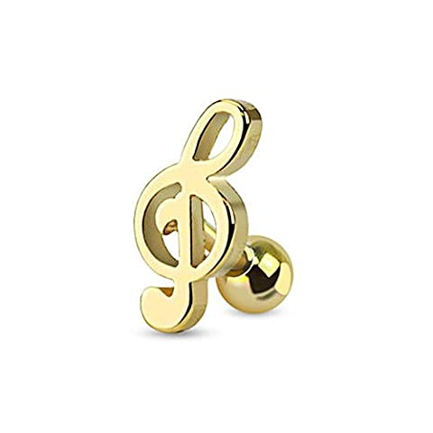 Gold IP 316L Surgical Steel Treble Clef Music Note Tragus/Cartilage Piercing Stud - Sold (Music Note Cartilage)