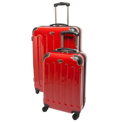 Swiss Case 28″ Spinner RED Suitcase + FREE Carry-on luggage set, Bags Central