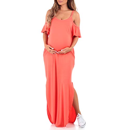 Women's Cold Shoulder Maternity Dress with Pockets - Made in USA