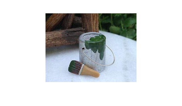IM65646 Dollhouse Miniature Used Paint Can /& Brush GREEN