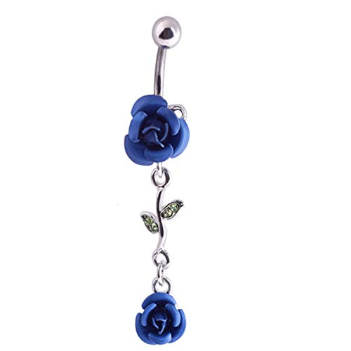 JoinLove Navel Rings Deep Blue Rose Flower 316L Dangle Body Piercing Jewelry for Women Curved Barbell Body Piercing