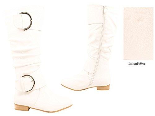 Elara Damen Stiefel | Bequeme Schlupfstiefel | Flache Wildlerder Boots | chunkyrayan Weiss London