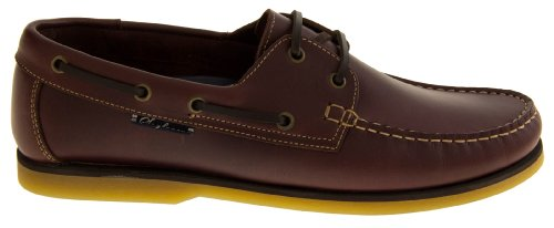 pelle scarpa uomo lacci Studio in mocassino Shoes Seafarer Deck Da Smart barca formale con vela Brown Footwear URIqxPw