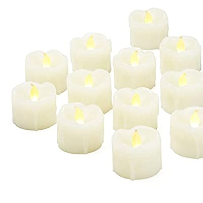 Set of 12 Wax Tea Lights with remote