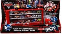 Disney / Pixar CARS Movie Exclusive Micro Drifters Mack Transporter Rolling Display Case [5 Cars Included, Store & Display 18 (Mack Transporter)
