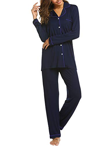 Ekouuaer Women's Sleepwear Knit Longsleeve Top and Leggings Pajamas PJ Set (D Blue,M)