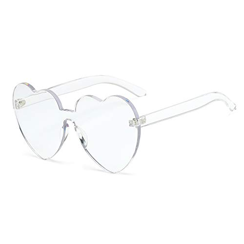 Heart Shaped Rimless Sunglasses One Pieces Transparent Candy Color Frameless Glasses Love Eyewear ()