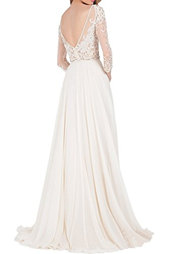 Lang La Ballkleider Rock Abendkleider Perlen Brautmutterkleider Weiß A Marie Linie Braut Langarm Luxurioes r6rSO
