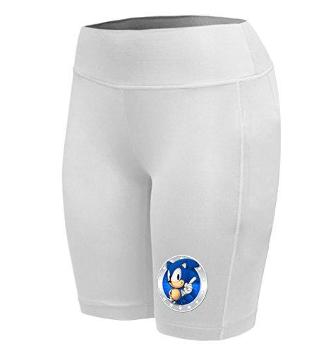 Sysuser Women's Cartoon Hedgehog Sonic Mid Thigh Yoga Workout Legging Shorts (Female Sonic The Hedgehog)