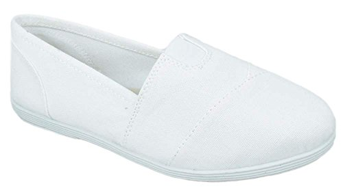 SODA Flat Women Shoes Linen Canvas Slip On Loafers Memory Foam Gel Insoles OBJI-S White 8