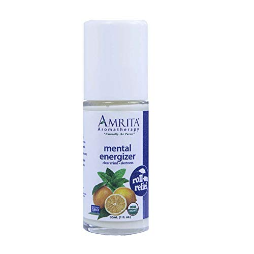 Amrita Aromatherapy Organic Mental Energizer Roll-On Relief, Natural Energy Booster, Organic Lotion Base with Ginger, Lemon, Lime, and Organic Peppermint Essential Oils, 30 milliliters