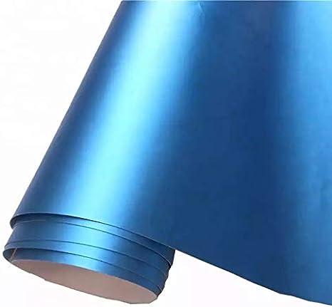 Folimac 10 M Light Blau Chrom Matt Metallic Autofolie Blasenfrei Mit Luftkanäle 18meter X 152cm Auto