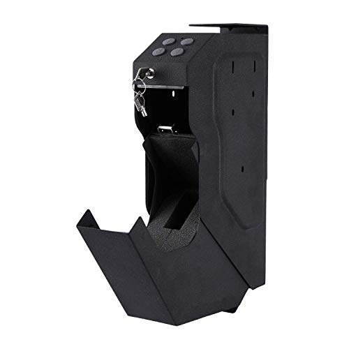 INVIE Gun Security Box Gun Vault Handgun Safe Shelf-Mountable Gun Safe with Digital Key & 2 Emergency Key