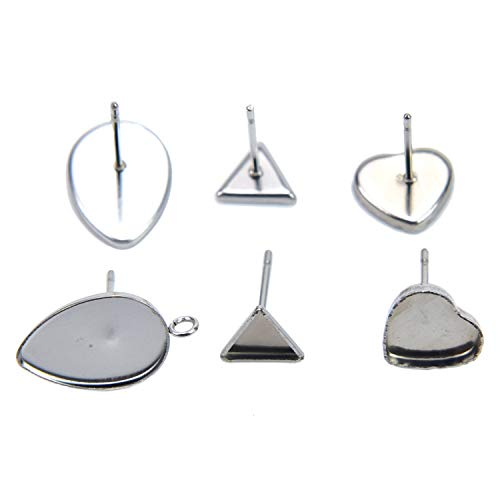 (Pomeat 30Pcs 3 Styles Stainless Steel Flat Earstud Posts with Loop Cabochon Earring Settings Post Cup (Teardrop & Triangle & Heart))