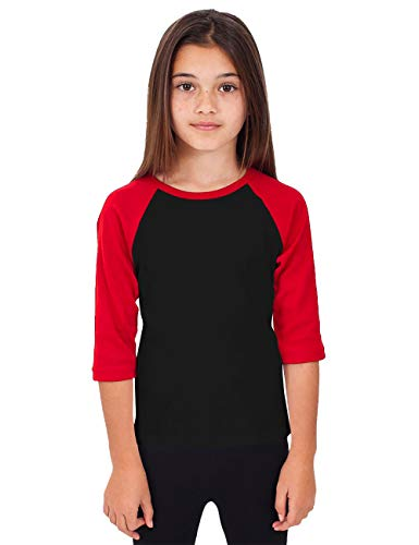 (Hat and Beyond Kids Raglan Jersey Child Toddler Youth Uniforms 3/4 Sleeves T Shirts (X-Small (2-3 Year), 5RD3402 Black/Red))