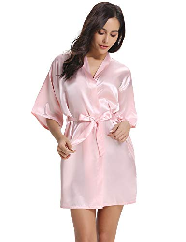 Vlazom Women's Kimono Robes Short Satin Pure Color Bridal Party Robe with Oblique V-Neck Pink