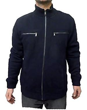 Calvin Klein Men's Lifestyle Full Zip Sweatshirt Jacket, Navy, Large