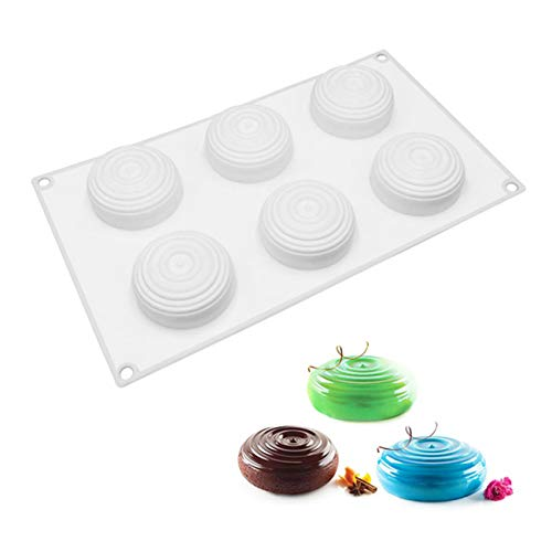 (G.G.W 1PCS 6Cavity Spiral Oblate Mousse Mold Silicone Chocolate French Dessert Pastry Baking Bakeware Ice Tools Kitchen Accessories)