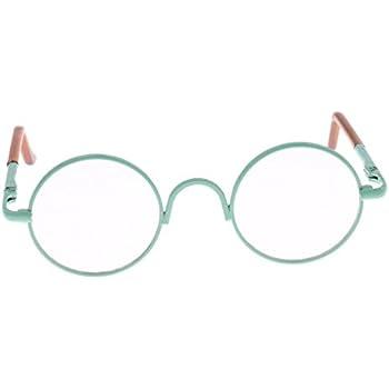 b9832453fa MagiDeal Retro Copper Round Frame Glasses Eyewear for 1 6 BJD MSD DOD  Blythe 9cm Salon Doll EXO Dolls Clothes Accessory Green Clear