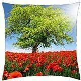 Poppy field lit by the sun - Throw Pillow Cover Case (18