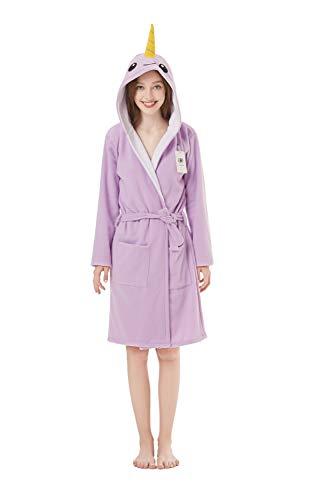 Hooded Towel Plus - XVOVX Adult Lady Narwhal Polar Fleece Robe Soft Bathrobe for Women Girls