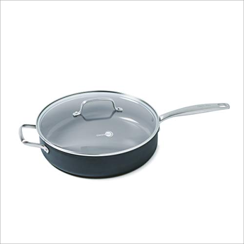 GreenPan CC000123-001 GreenPan Chatham 5QT Ceramic Non-Stick Covered Saute Pan with Handle Helper, Grey, 5 quart Ceramic Non Stick Saute Pan