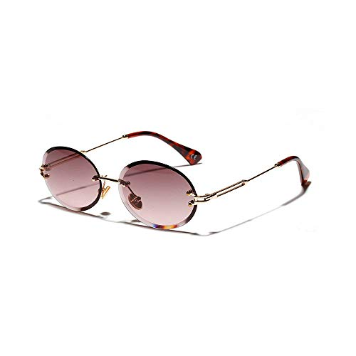 MINCL/Women Fashion Oval Sunglasses Brand Designer Frameless Diamond Cut Edge Sun Glasses UV400 ()