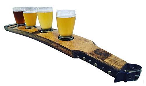 (Beer Server, barrel stave Handcrafted and 6 OZ Glass)